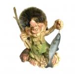 керамическая фигурка тролля рыбака - подарок рыбаку