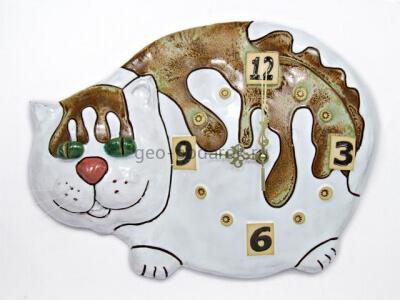 """Настенные керамические часы """"Белый котик"""""""