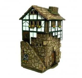 Керамический домик-подсвечник с лестницей купить