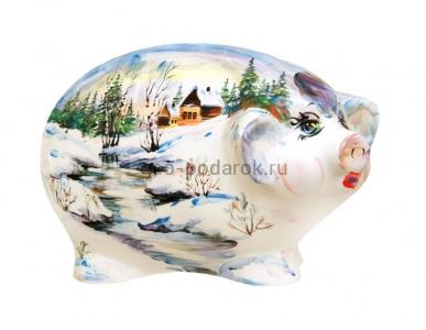 """Статуэтка свинка """"Пейзаж-зима"""" (ХL) фото"""