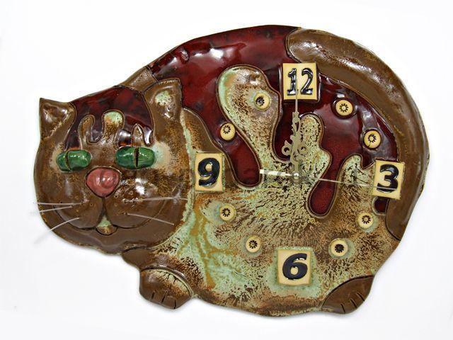 Настенные керамические часы кот