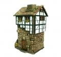 Керамический домик-подсвечник с лестницей фото