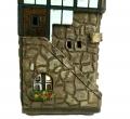 Керамический домик-подсвечник с лестницей вид сбоку