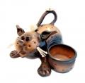 керамическая копилка бутылочница кот